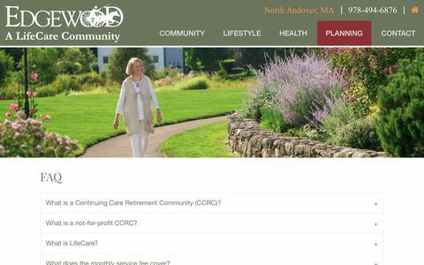 Screenshot of FAQ Page edgewoodrc.com - FAQ | Edgewood | A LifeCare Community in North Andover, MA - captured July 17, 2017
