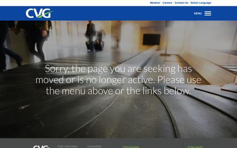 Screenshot of About Page cvgairport.com - Page Not Found - captured Oct. 22, 2015