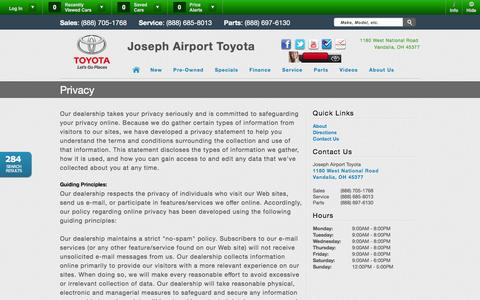 Screenshot of Privacy Page josephairporttoyota.com - Joseph Airport Toyota | Vehicles for sale in Vandalia, OH 45377 - captured Jan. 9, 2016