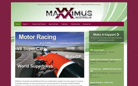 Screenshot of Home Page maxximus.com.au - MaXXimus Australia - Corporate Hospitality - captured Oct. 4, 2014