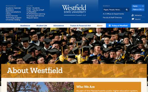 Screenshot of About Page ma.edu - About Westfield State | Westfield State University - captured Oct. 26, 2014