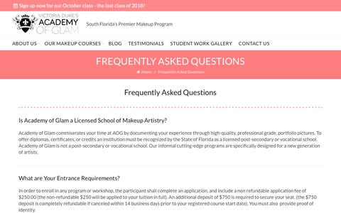 Screenshot of FAQ Page academyofglam.com - Frequently Asked Questions   Academy of Glam - captured Oct. 2, 2018