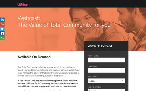 Screenshot of Landing Page lithium.com - The value of Total Community for you - captured July 14, 2016