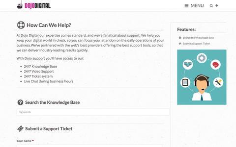 Screenshot of Support Page dojodigital.com - Support - Dojo Digital - captured Dec. 30, 2016