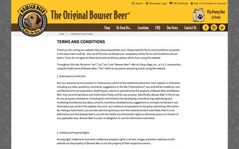 Screenshot of Terms Page bowserbeer.com - Terms and Conditions - captured Nov. 28, 2016