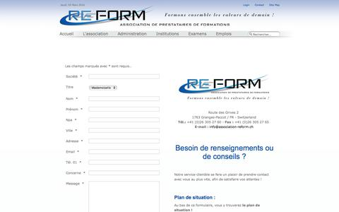 Screenshot of Contact Page association-reform.ch - Association REFORM - REFORM - captured March 2, 2016