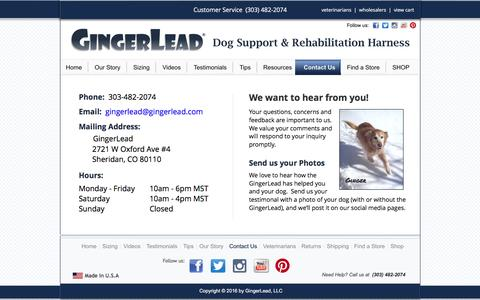 Screenshot of Contact Page gingerlead.com - Contact Us   GingerLead Dog Rear Support Harness - captured Nov. 7, 2016