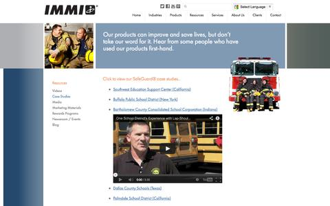 Screenshot of Case Studies Page imminet.com - Case Studies - IMMI - captured Oct. 3, 2014