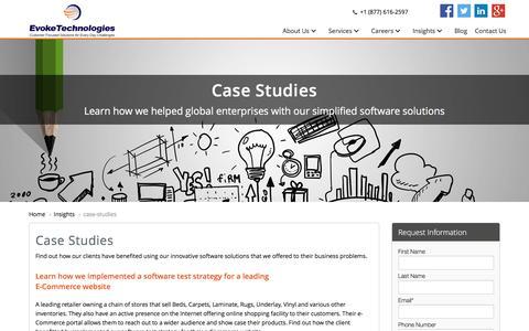 Screenshot of Case Studies Page evoketechnologies.com - Case Studies  - Evoke Technologies - captured Dec. 12, 2015