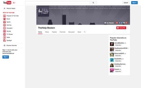 Screenshot of YouTube Page youtube.com - TheHelp Boston  - YouTube - captured Oct. 26, 2014