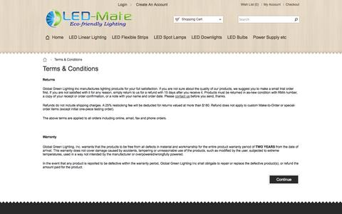Screenshot of Terms Page led-mate.com - Full Service of Returns and Warranty - captured Sept. 26, 2014