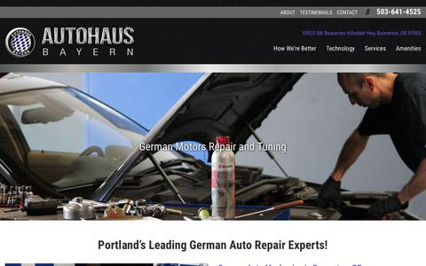 Screenshot of Home Page autohausbayern.com - Autohaus Bayern | German Auto Repair, Service, Specialist, Maintenance: Beaverton, Portland, Cedar Hills, Lake Oswego, OR - captured Oct. 4, 2018