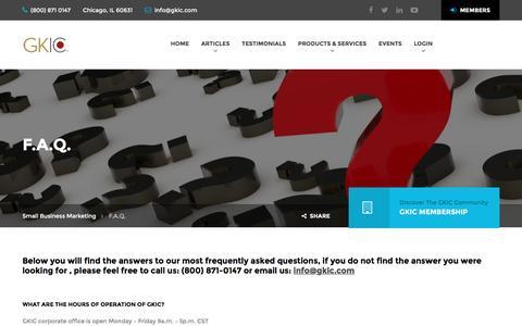 Screenshot of FAQ Page gkic.com - F.A.Q. – Small Business Marketing - captured Jan. 26, 2017