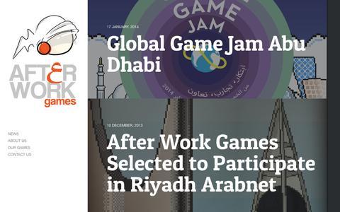 Screenshot of Home Page afterworkgames.ae - After Work Games - captured Sept. 30, 2014
