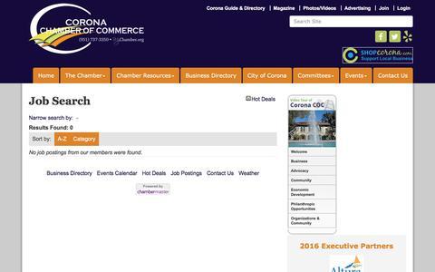 Screenshot of Jobs Page mychamber.org - Job Search - Corona Chamber of Commerce, CA - captured Nov. 23, 2016