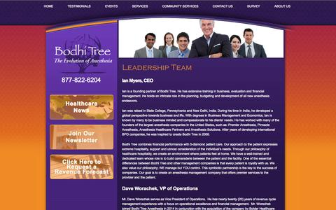 Screenshot of About Page bodhitreeanesthesia.com - About Us - Bodhi Tree Anesthesia - Full-Service Anesthesia Solutions - Accounting, Recruitment, Practice Management, Risk Management, and More - captured Sept. 30, 2014