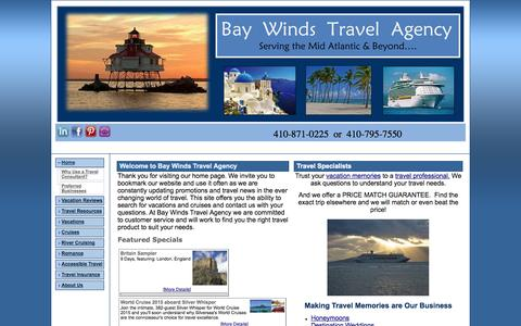 Screenshot of Home Page baywindstravel.com - Bay Winds Travel Agency, Inc -  Home - captured Oct. 5, 2014