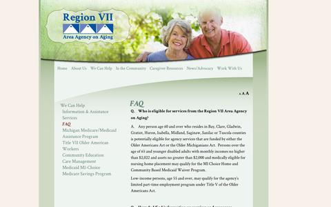 Screenshot of FAQ Page region7aaa.org - FAQ | Region 7 Area Agency on Aging - captured Oct. 26, 2014