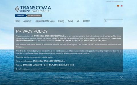 Screenshot of Privacy Page grupotranscoma.com - PRIVACY POLICY - captured Dec. 3, 2016