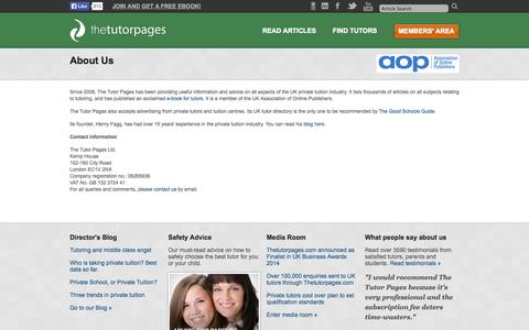Screenshot of About Page thetutorpages.com - The Tutor Pages - About The Tutor Pages - captured Sept. 19, 2014