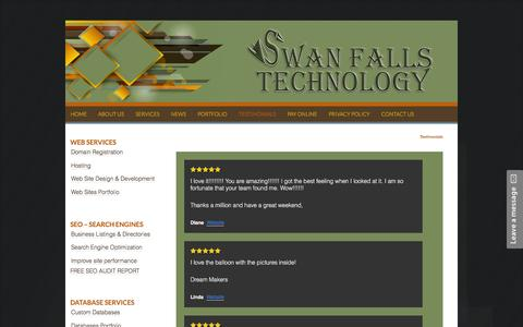 Screenshot of Testimonials Page swanfallstech.com - Testimonials | Web Design, Hosting, Database Design & I.T Consulting - captured Feb. 16, 2016