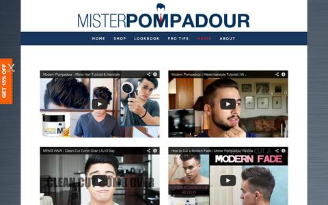 Screenshot of Press Page misterpompadour.com - Media | Mister Pompadour - captured Nov. 3, 2014