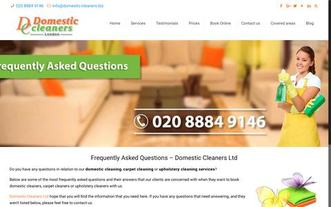 Screenshot of FAQ Page domestic-cleaners.biz - FAQs | Domestic Cleaners Ltd | Cleaning Services - captured Oct. 9, 2018