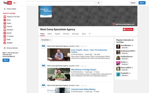 Screenshot of YouTube Page youtube.com - Work Comp Specialists Agency  - YouTube - captured Oct. 26, 2014
