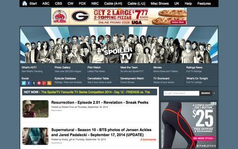 Screenshot of Home Page spoilertv.com - Spoiler TV           | The TV Spoilers Site - captured Sept. 18, 2014