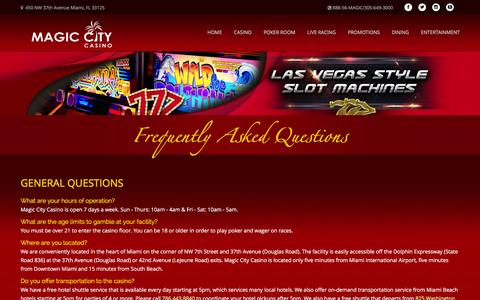 Screenshot of FAQ Page magiccitycasino.com - Magic City Casino - Frequently Asked Questions - captured Jan. 28, 2016