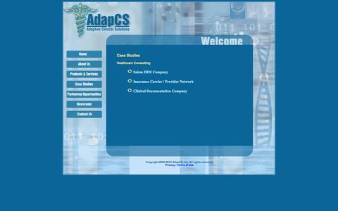 Screenshot of Case Studies Page adapcs.com - AdapCS, Inc. - captured Oct. 4, 2014