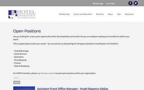 Screenshot of Jobs Page hantx.org - Open Positions - Hotel Association of North Texas - captured Dec. 15, 2018