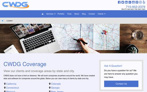 Screenshot of Locations Page cwdgservices.com - CWDG Web Design and Development Locations - captured Sept. 29, 2018