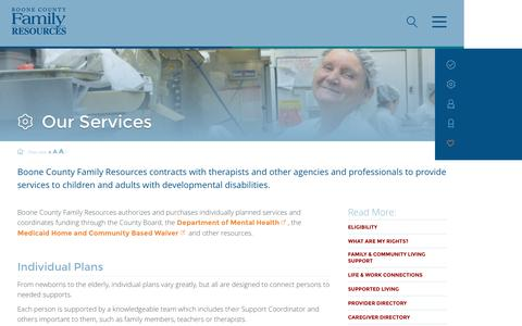 Screenshot of Services Page bcfr.org - Our Services | Boone County Family ResourcesBoone County Family Resources | We help people with developmental disabilities thrive, connect, and achive - captured Nov. 23, 2016