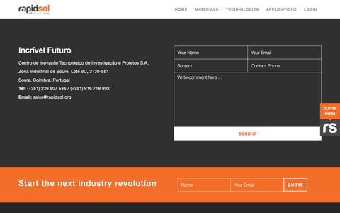 Screenshot of Contact Page rapidsol.org - 3D Printing Service Rapidsol | Contact Us - captured Nov. 29, 2016
