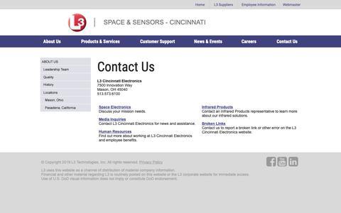 Screenshot of Contact Page cinele.com - L3 Space & Sensors - Cincinnati - captured March 19, 2019