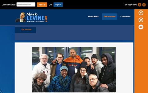 Screenshot of Signup Page votelevine.com - Get Involved - Mark Levine - captured Jan. 28, 2016