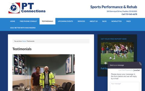 Screenshot of Testimonials Page pt-connections.com - Testimonials - Physical Therapy in Pueblo - PT Connections - captured Sept. 28, 2018