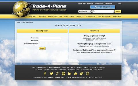 Screenshot of Login Page trade-a-plane.com - Trade-A-Plane Login / Registration Page - captured Sept. 8, 2016