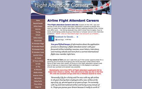 Screenshot of Home Page flight-attendant-careers.com - Flight Attendant Careers to Jump Start Your Dream - captured Aug. 27, 2016