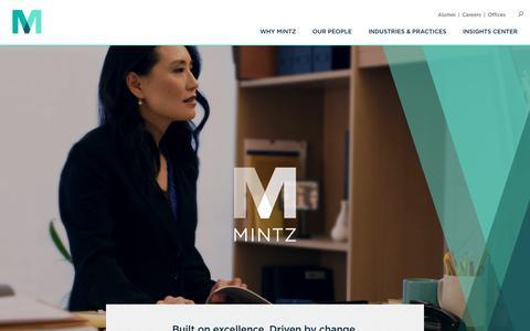 Screenshot of Home Page mintz.com - Mintz | Attorneys | Corporate Litigation | IP - captured Sept. 19, 2018