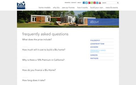 Screenshot of FAQ Page bluhomes.com - Frequently Asked Questions - Blu Homes - captured Sept. 13, 2014