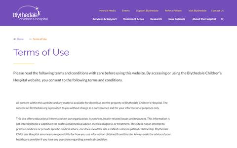 Screenshot of Terms Page blythedale.org - Terms of Use | Blythedale Children's Hospital - captured Oct. 6, 2018