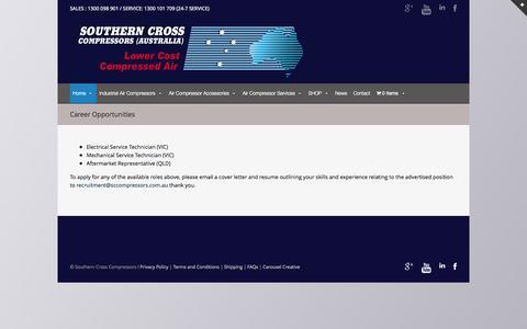 Screenshot of Jobs Page southerncrossaircompressors.com.au - Southern Cross Compressors career opportunities Jobs - captured Oct. 26, 2014