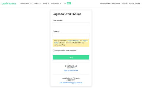 Log in - Free Credit Score &  Free Credit Reports With Monitoring | Credit Karma | Credit Karma