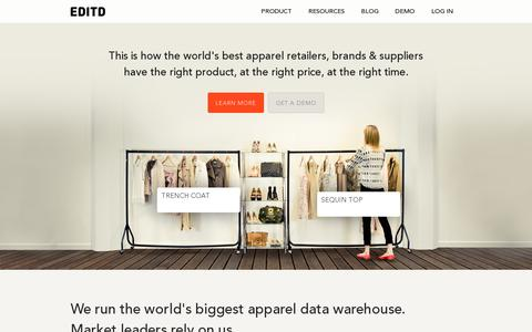 Screenshot of Home Page editd.com - EDITD: Big data for the fashion business - captured July 11, 2014