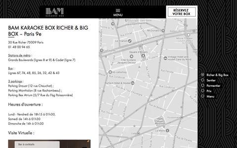 Screenshot of Contact Page Menu Page Locations Page bam-karaokebox.com - BAM Karaoke Box dans le cœur de Paris: adresse, contact, prix, menu et FAQ - captured Oct. 30, 2017