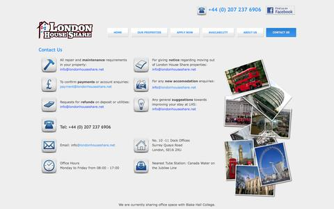 Screenshot of Contact Page londonhouseshare.net - Contact Us - captured Sept. 30, 2014