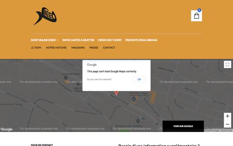 Screenshot of Contact Page kieed.ch - Kieed T-Shirts | Contactez-nous - captured Sept. 20, 2018