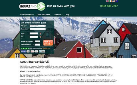 Screenshot of About Page insureandgo.com - About Us - InsureandGo UK - captured Sept. 24, 2014
